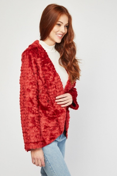 Fluffy Lapel Front Faux Fur Jacket