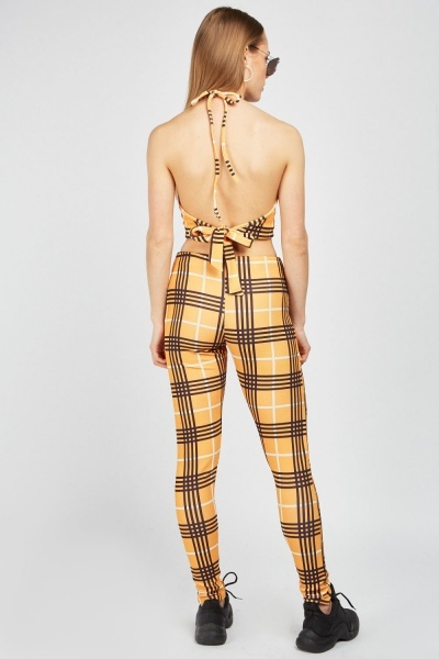 Halter-Neck Crop Top And Trousers Set