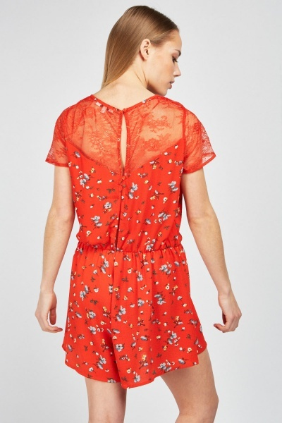 Lace Insert Printed Playsuit