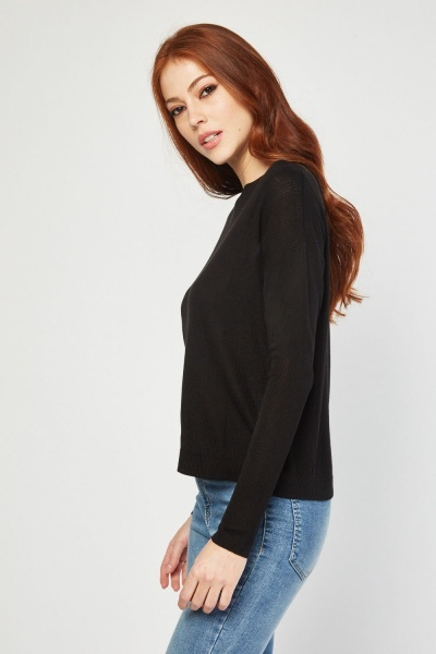 Ribbed Sleeve Knit Top