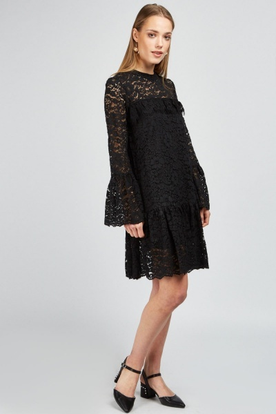 Ruffle Lace Overlay Shift Dress