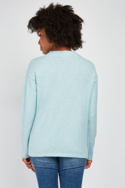 Textured Bow Patterned Front Knit Jumper
