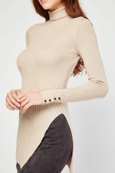 Turtle Neck Ribbed Top