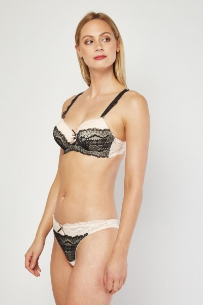 Two-Tone Lace Bra And Thong Set