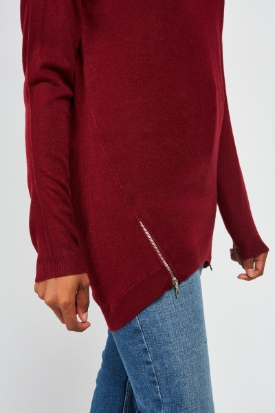 Zipper Side Knit Top