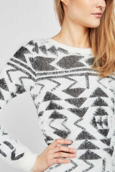 Aztec Pattern Eyelash Knitted Jumper
