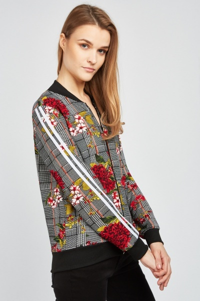 Checkered Zip Up Bomber Jacket