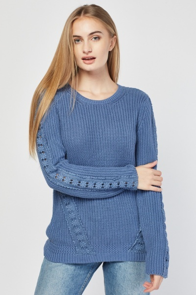 Crochet Sleeve Knit Jumper