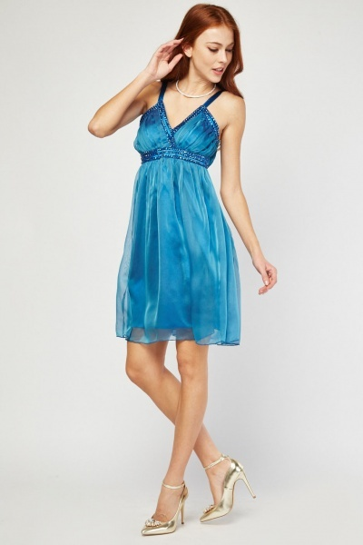 Embellished Chiffon Babydoll Dress
