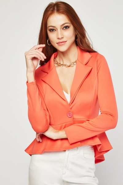 Fitted Lapel Front Peplum Blazer