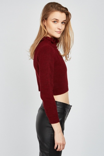 Frilly Neck Crop Knit Jumper