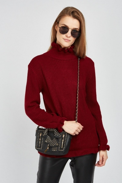 Herringbone High Neck Knit Jumper