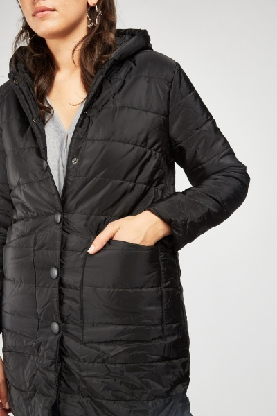 Hooded Long Line Quilted Jacket