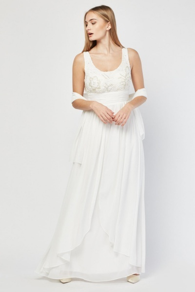 Lace Bodice Pleated Dress