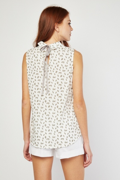 Leaf Printed Sleeveless Blouse