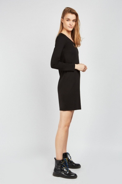 Long Sleeve Plain Dress
