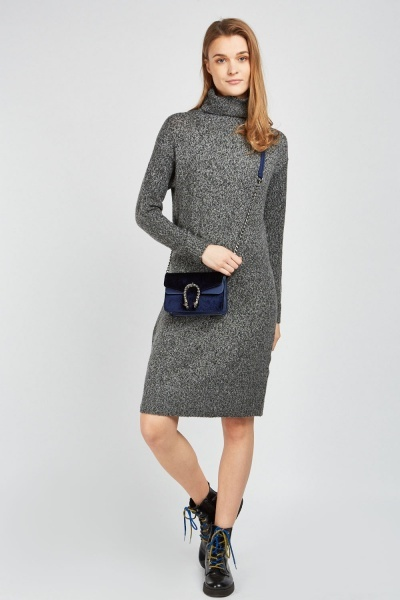 Roll Neck Knit Jumper Dress