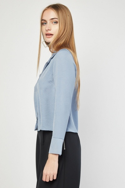 Sheer Button Front Blouse