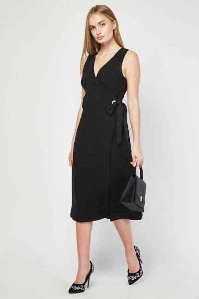 Sleeveless Eyelet Midi Wrap Dress