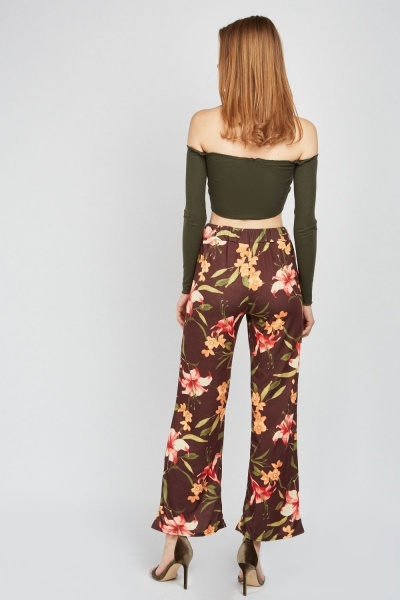 Wide Leg Lilly Print Casual Trousers