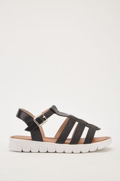 Lurex Contrast Gladiator Sandals