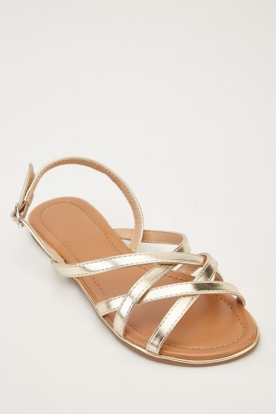 Metallic Cross-Strap Flat Sandals