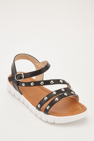 Studded Cut Out Strap Flat Sandals