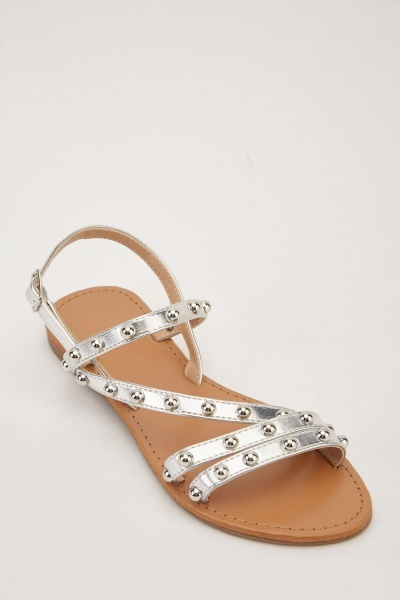 Studded Metallic Strap Sandals