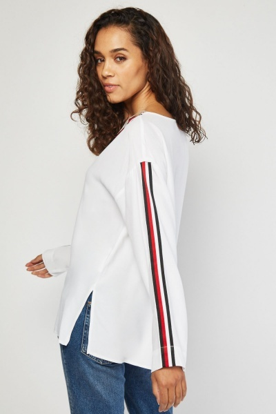 Blouse With Stripe Tape Trim