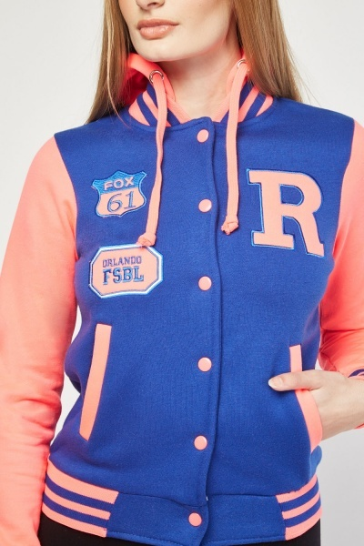 Colour-Block Applique Varsity Jacket