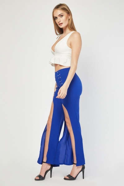Criss-Cross Slit Front Trousers