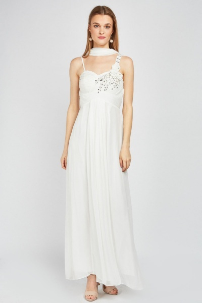 Diamante Pleated Sheer Maxi Dress