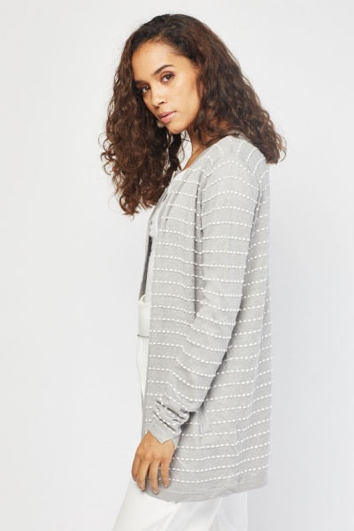Dotted Textured Knit Cardigan