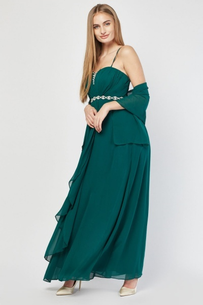 Embellished Pleated Maxi Dress