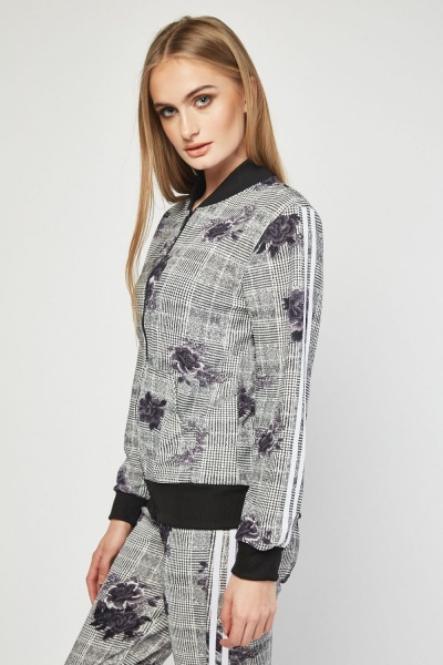 Floral Plaid Light Bomber Jacket