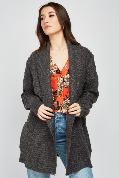 Lapel Front Chunky Cardigan