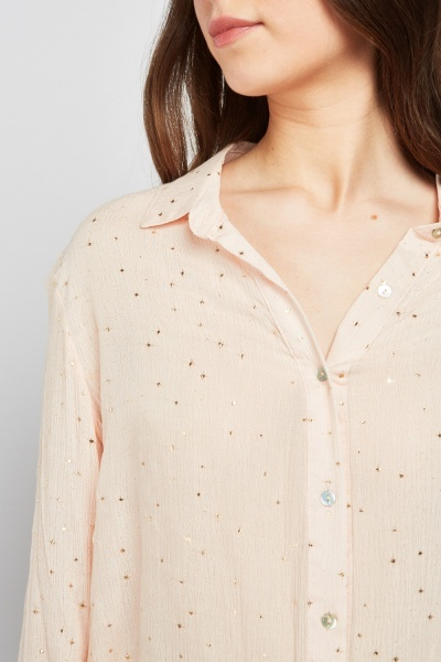 Metallic Speckled Crinkled Blouse