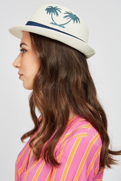 Palm Tree Patterned Fedora Hat