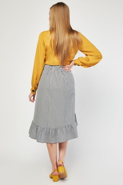 Ruffle Gingham Wrap Skirt