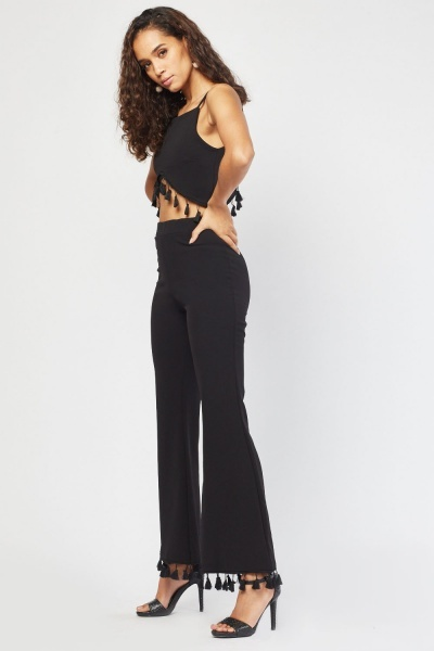 Tassel Crop Top And Trousers Set