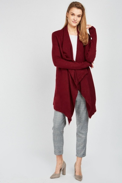 Waterfall Draped Knit Cardigan