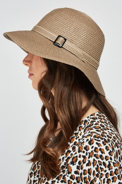 Buckle Strap Trim Straw Hat