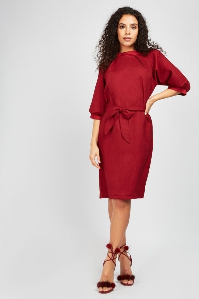 Crinkled Belted Midi Dress