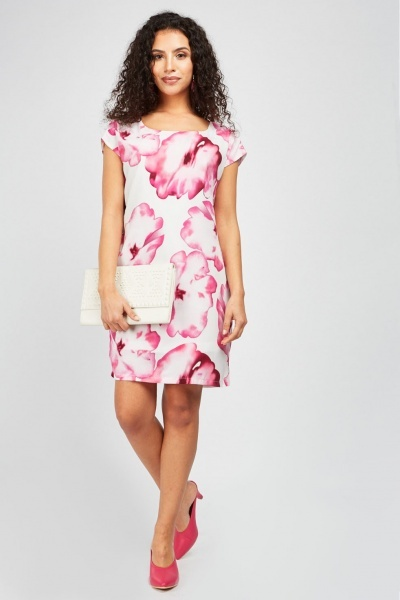 Large Orchid Print Shift Dress