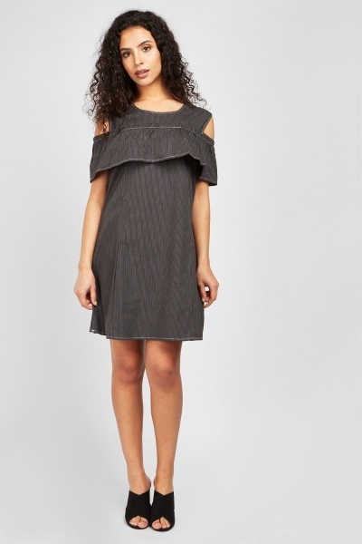 Pin-Striped Cold Shoulder Dress