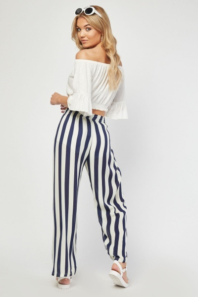 Sheer Wide Leg Chiffon Stripe Trousers