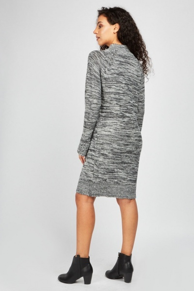 Speckled Contrast Knit Dress