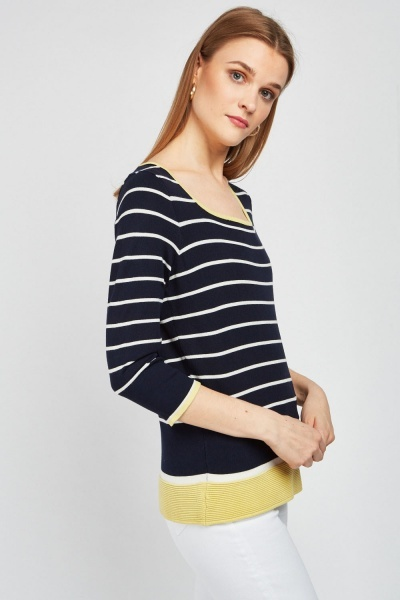 Square Neck Stripe Knit Top