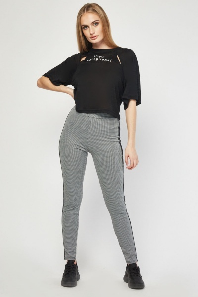 Stripe Side Checked Jogger Pants