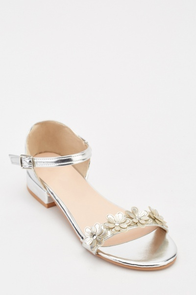 3D Metallic Flower Heel Sandals